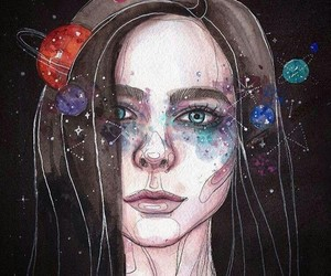 planets, art, and galaxy image