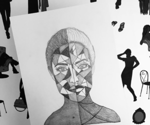 art, painting, and black and white image
