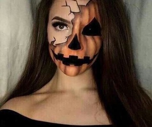 Halloween, makeup, and pumpkin image