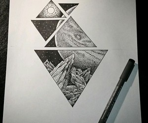 art, planet, and triangle image