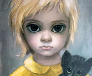 big eyes, cat, and art image