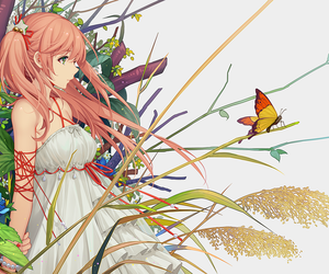butterfly, girl, and long hair image