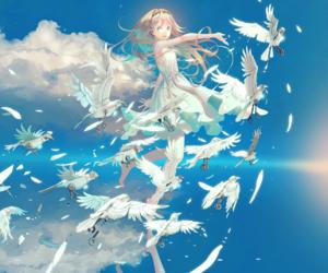 bird, clouds, and sky image