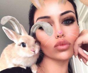 animals, bunny, and girl image