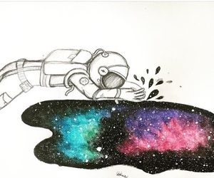 art, astronaut, and draw image