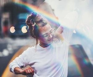 rainbow, girl, and photography image