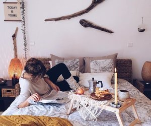 bed, bohemian, and decor image