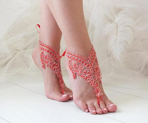 etsy, red barefoot sandals, and red lace sandals image