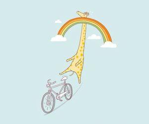 giraffe, wallpaper, and rainbow image