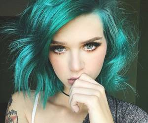 colorful, green, and coloredhair image
