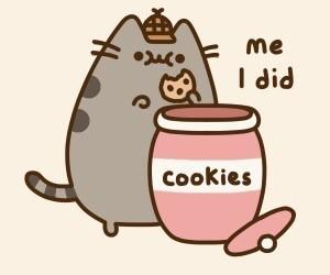 cat, Cookies, and pusheen image