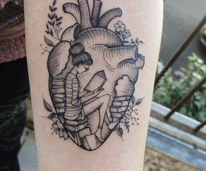 tattoo, books, and heart image