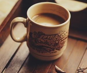 coffee, autumn, and leaves image