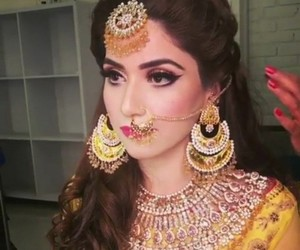 jewelry, nose ring, and bridal makeup image