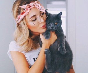 girl, cat, and animal image