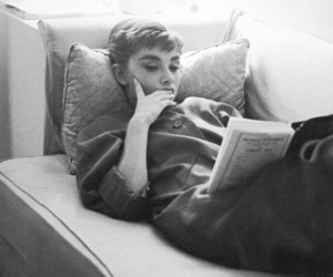 audrey hepburn, book, and reading image