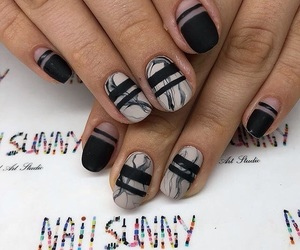 black, nail art, and gel nails image