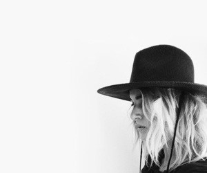 black and white, woman, and hat image