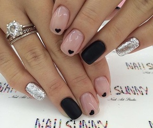 black nails, acrylic nails, and manicures image