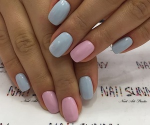 blue nails, manicure, and acrylic nails image