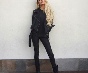 blonde, leather, and boots image