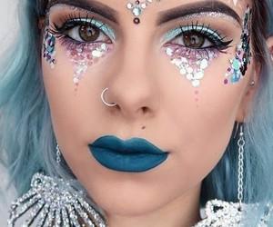 makeup, mermaid, and Halloween image