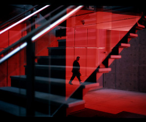 red and stairs image