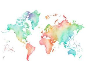 map, world, and rainbow image