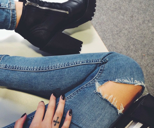 fashion, jeans, and boots image