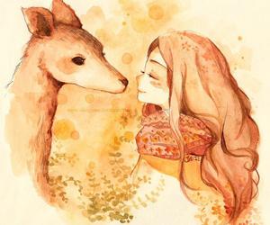 art, girl, and deer image