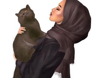 art, hijab, and cat image