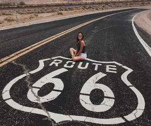 girl, road, and route 66 image