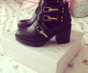 ankle boots, black, and shoes image