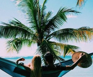couple, hammock, and palms image