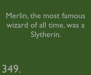 slytherin, merlin, and harry potter image