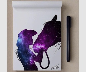 art, horse, and universe image
