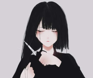 anime, black, and hair image