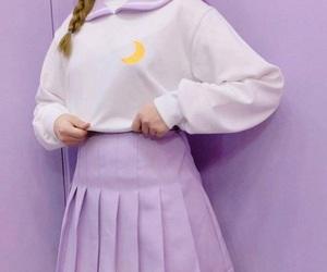 girl, pretty, and purple image