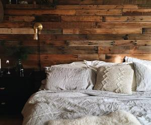 bed, fur, and wood image