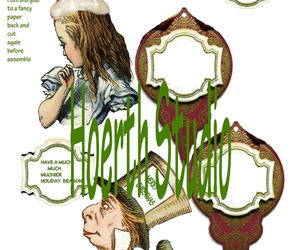 alice in wonderland, mad hatter, and christmas card image