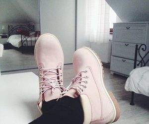 shoes, pink, and timberland image
