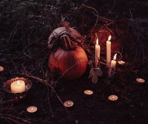 pumpkin, candles, and Halloween image