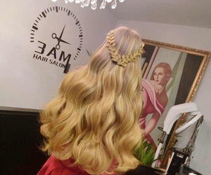 blonde hair, extensions, and hair salon image