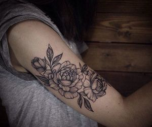 arm tattoo, flowers, and rose image
