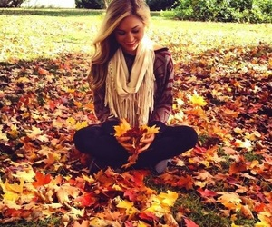 fall, girl, and leaves image
