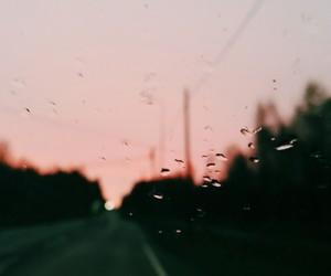 pink, rain, and road image