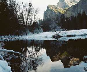 snow, mountains, and lake image