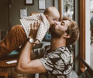 baby, beard, and dad image