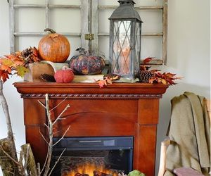 fireplace, home decor, and vintage farmhouse image