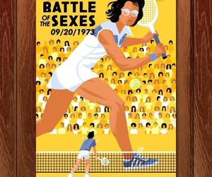 illustration, tennis, and battle of the sexes image